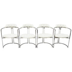 Chromcraft Midcentury Chrome Frame Barrel Back White Vinyl Chairs, Set of 4