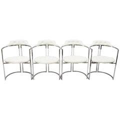 Chromcraft Midcentury Chrome Frame Barrel Back White Vinyl Chairs, Set of 4