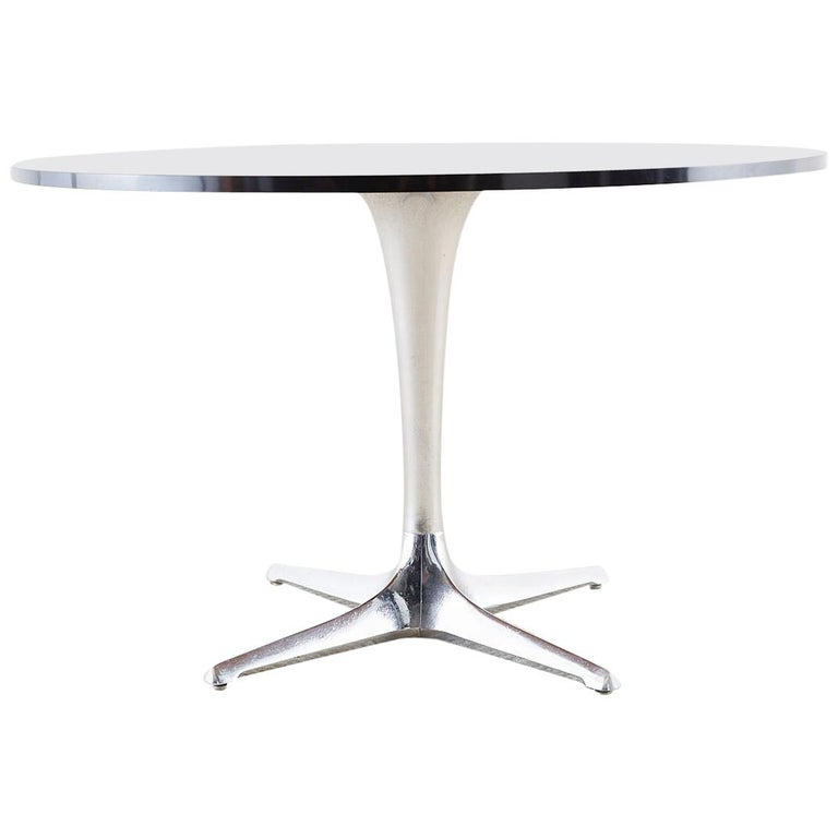Chromcraft Midcentury Polished Aluminum Laminate Dining Table For Sale