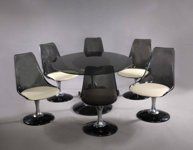 Late 20th Century Chromcraft Smoke Lucite Dining Set: Six Swiveling Tulip Chairs and Oval Table For Sale