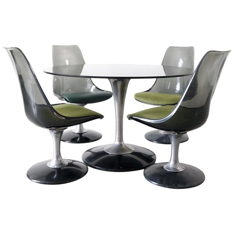 Chromcraft Smoked Lucite Dining Set of Four Tulip Chairs and Round Table For Sale