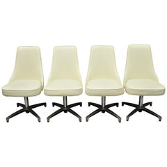 Chromcraft Space Age Midcentury Chrome Swivel White Dining Chairs, Set of 4
