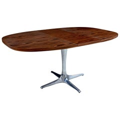 "Chromcraft ""Unicorn"" Chrome Base Sculpta Extending Dining Table, Faux Walnut"