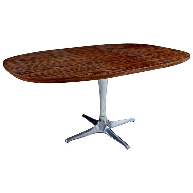 "Chromcraft ""Unicorn"" Chrome Base Sculpta Extending Dining Table, Faux Walnut For Sale"