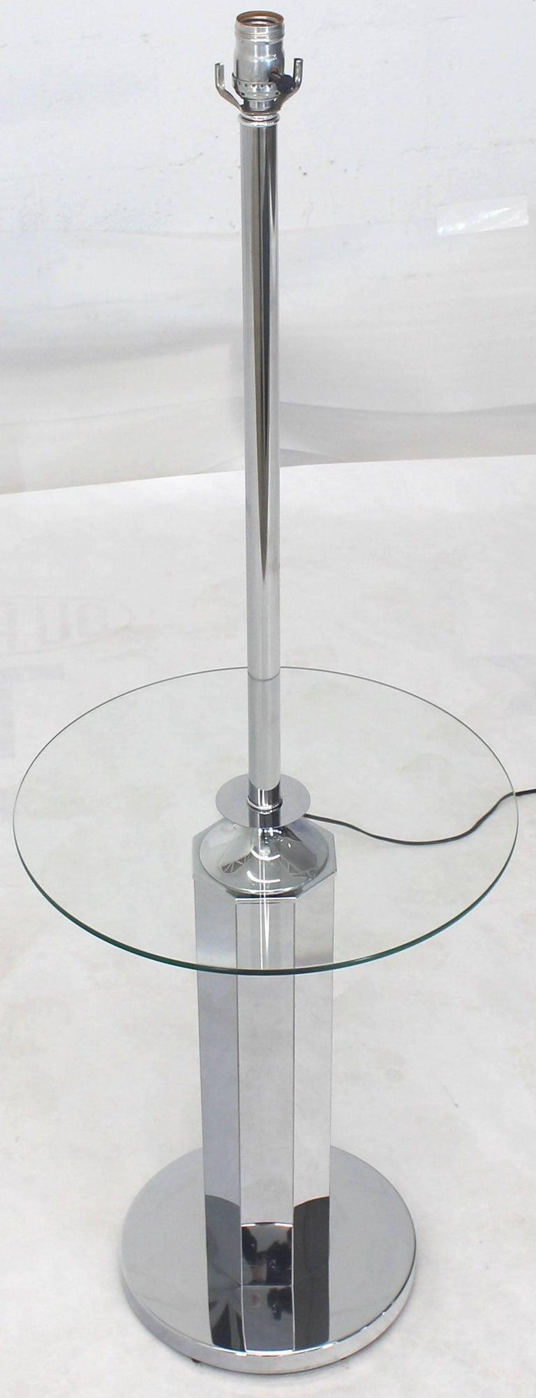 Mid-Century Modern chrome round floor lamp side table.