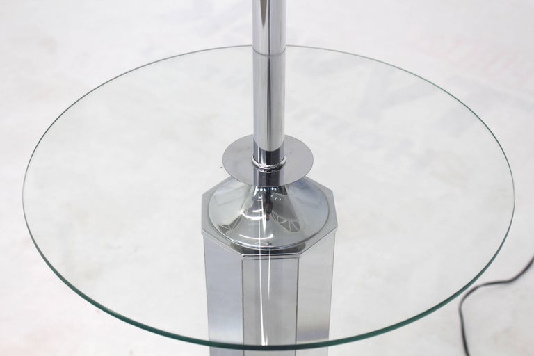 Mid-Century Modern Chrome and Glass Floor Lamp Round Side Table For Sale