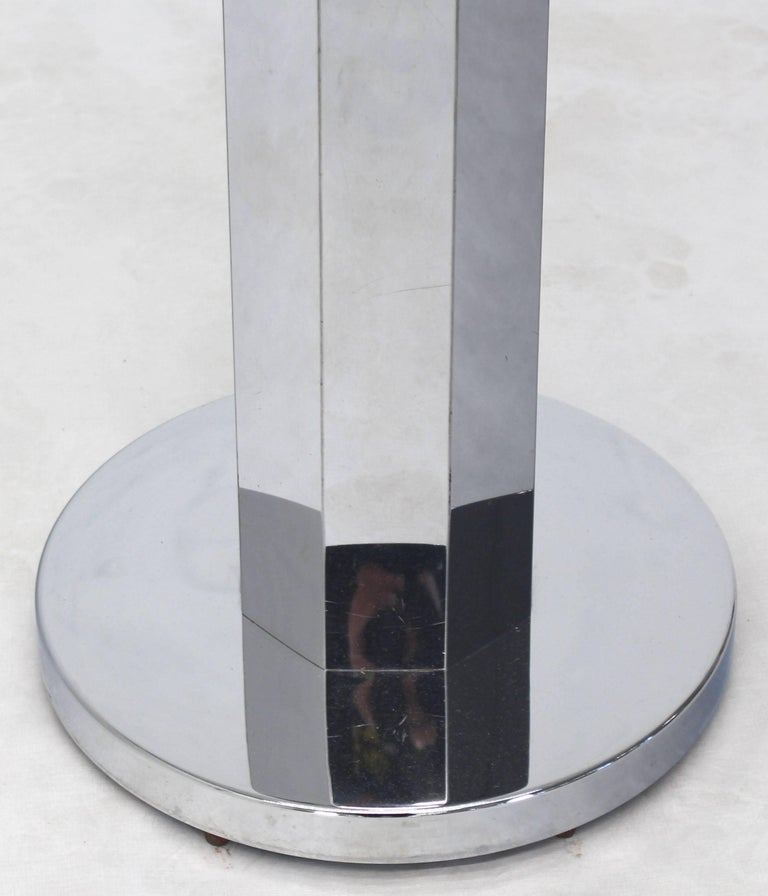 American Chrome and Glass Floor Lamp Round Side Table For Sale