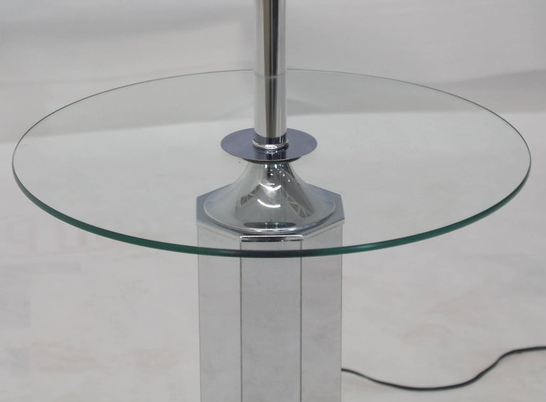 Polished Chrome and Glass Floor Lamp Round Side Table For Sale