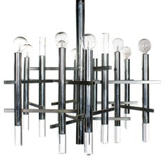 Chrome and Lucite Twelve-Arm Chandelier by Gaetano Sciolari for Lightolier
