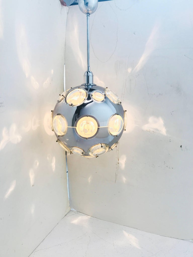 Chrome and steel globe pendant lamp for sale at 1stdibs chrome and steel globe pendant lamp light fixture is in good vintage condition with wear aloadofball Choice Image