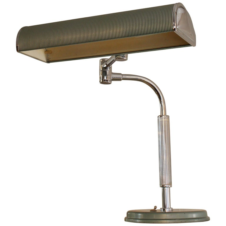 Chrome Art Deco Modernist Desk Table Lamp Lacquered Articulated Lighting French For Sale