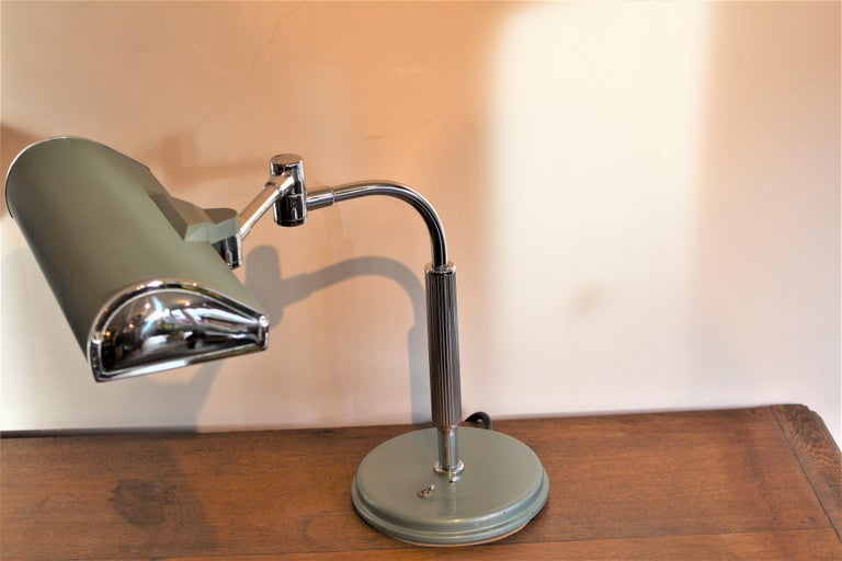 20th Century Chrome Art Deco Modernist Desk Table Lamp Lacquered Articulated Lighting French For Sale