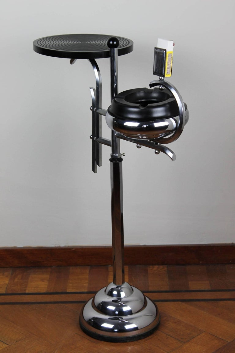 Chrome and Bakelite Ashtray Stand, Floor Ashtray 1930s by Demeyere, Belgium For Sale 2