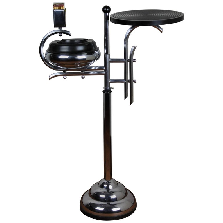 Chrome and Bakelite Ashtray Stand, Floor Ashtray 1930s by Demeyere, Belgium For Sale