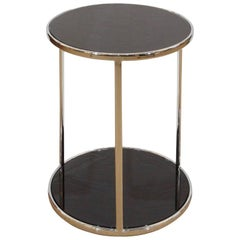 Chrome and Black Glass Side Table