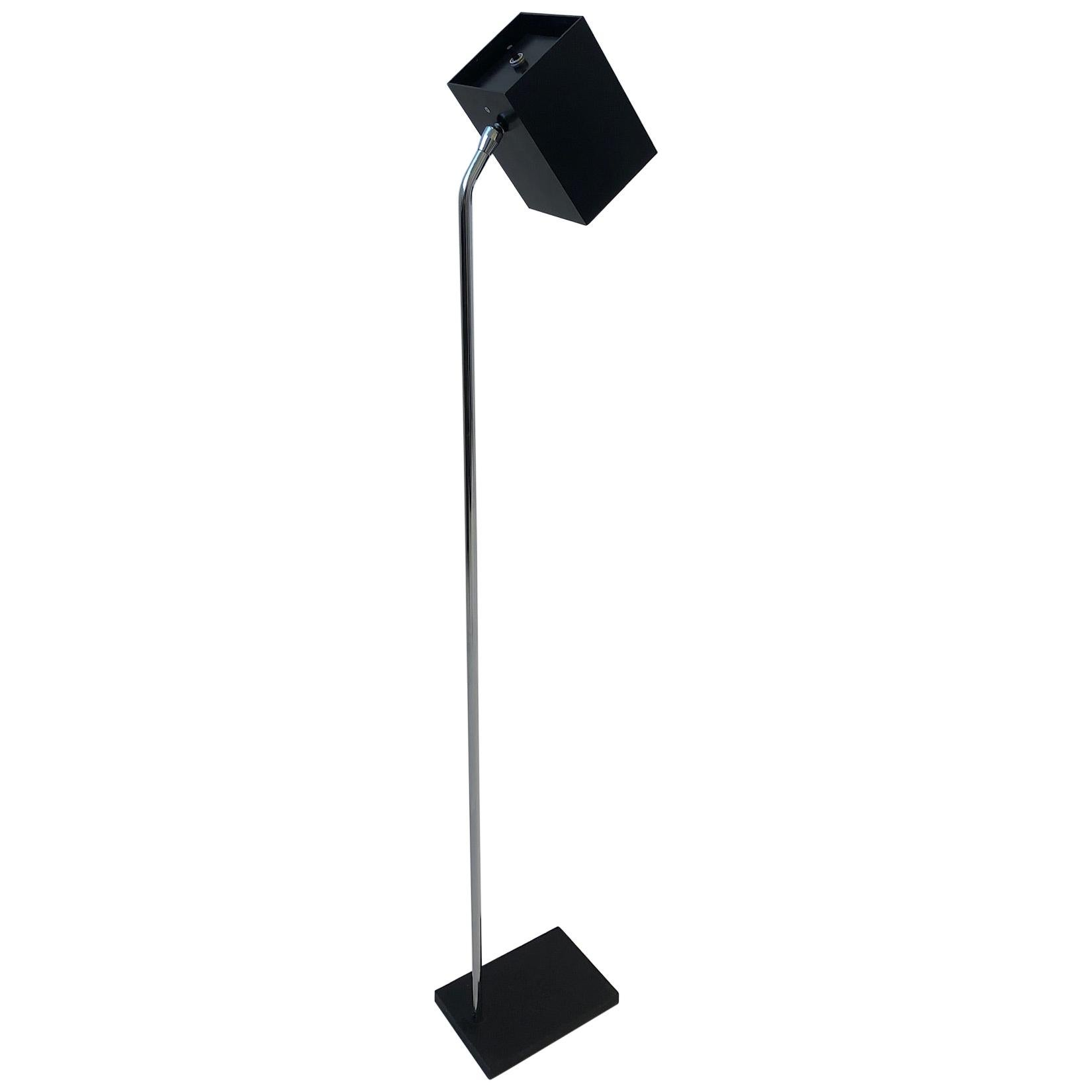 Chrome and Black Lacquered Reading Floor Lamp by Robert Sonneman for Kovacs
