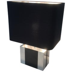 Chrome and Black Lacquered Table Lamp. French, circa 1970