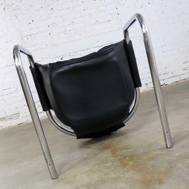 Chrome and Black Vinyl Cantilevered Sling Chair Attributed to Vecta Group, Italy For Sale 5