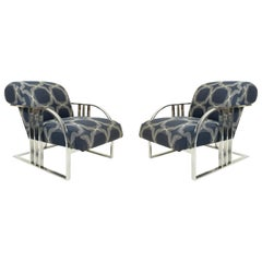 Chrome and Blue Upholstered Armchairs by Milo Baughman