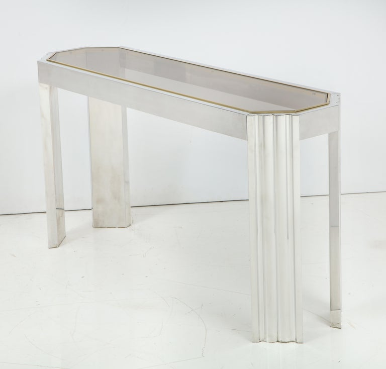 1stdibs Brass Smoked Glass French Console Table: Chrome And Brass 1970s Console Table With Inset Smoked