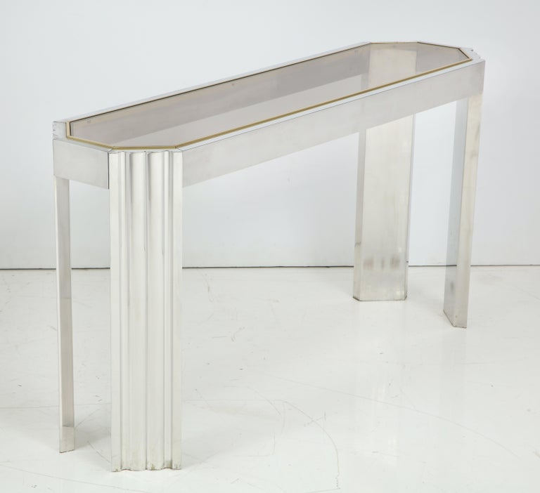 Chrome And Brass 1970s Console Table With Inset Smoked