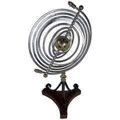 Chrome and Brass Armillary Celestial Kinetic Sculpture with Teak and Iron Base