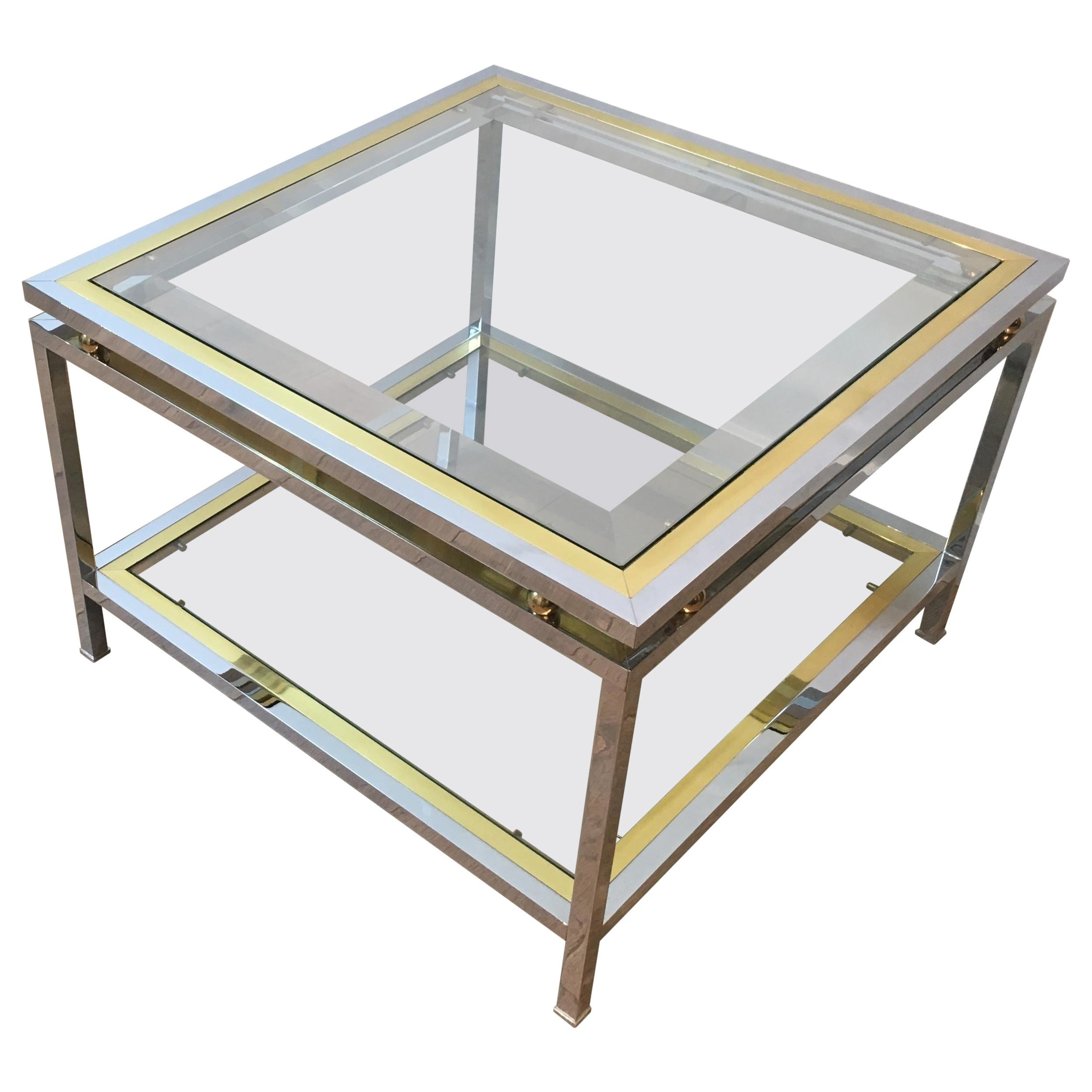 Chrome and Brass Design Side Table, French, circa 1970