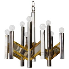 Chrome and Brass Geometric Sciolari Chandelier