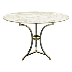 Chrome and Brass Marble-Top Table in the Style of Maison Jansen