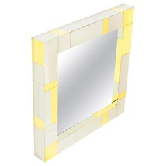 Chrome and Brass Midcentury Square Cityscape Mirrors in the Style of Paul Evans