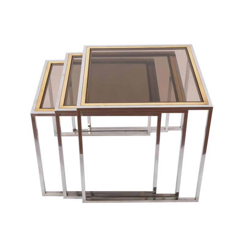Chrome and Brass Nesting Italian Coffee Tables with Smoked Glass Top, 1970s For Sale 5