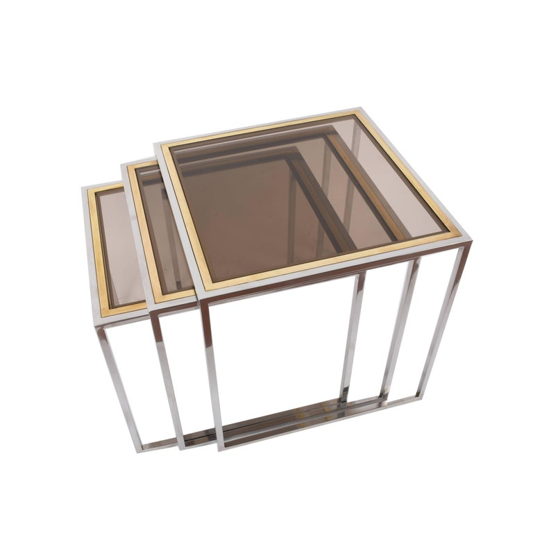 Chrome and Brass Nesting Italian Coffee Tables with Smoked Glass Top, 1970s For Sale 6