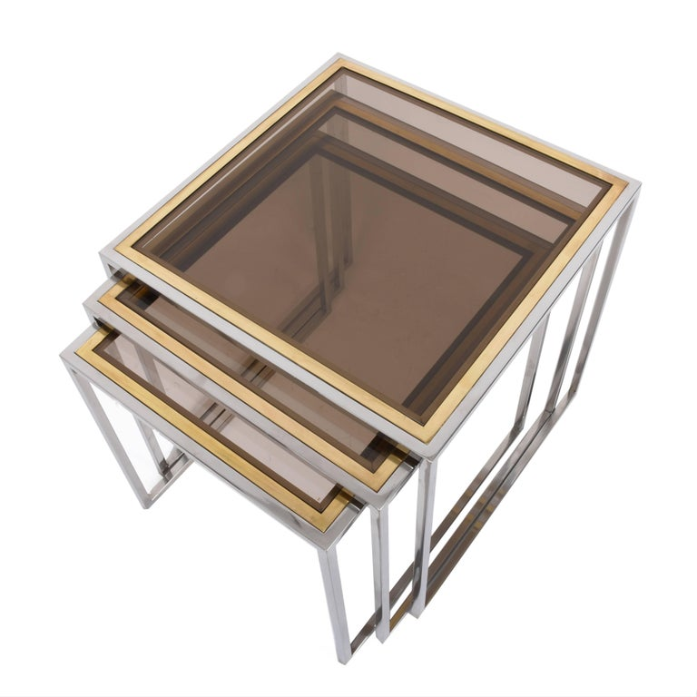 Chrome and Brass Nesting Italian Coffee Tables with Smoked Glass Top, 1970s For Sale 4