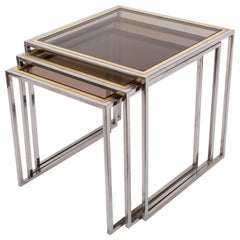 Chrome and Brass Nesting Italian Coffee Tables with Smoked Glass Top, 1970s