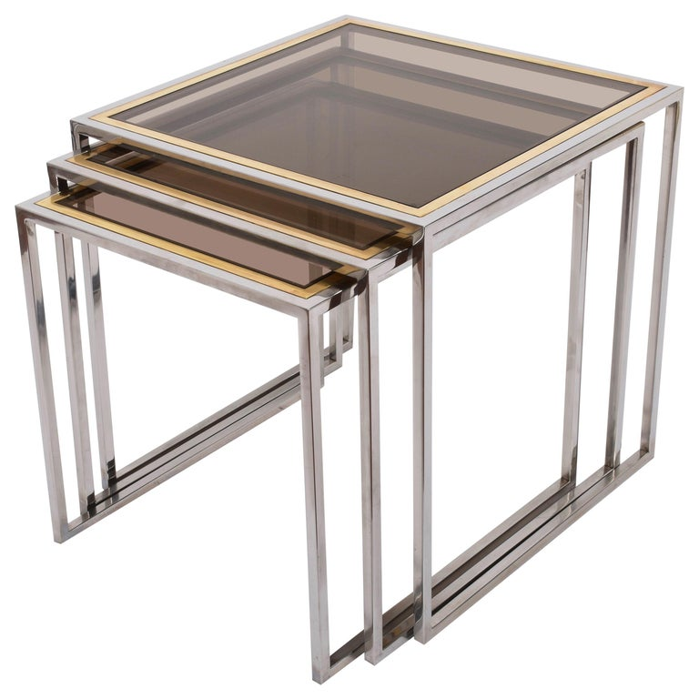 Chrome and Brass Nesting Italian Coffee Tables with Smoked Glass Top, 1970s For Sale