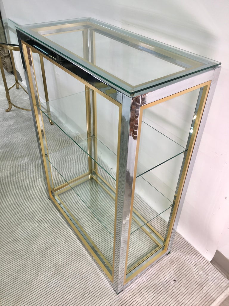 Chrome and Brass Table Top Étagère For Sale 3