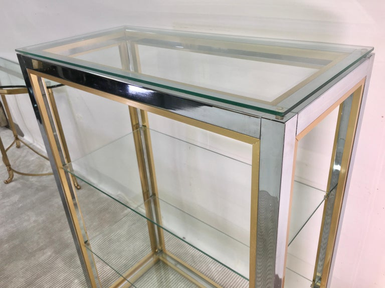 Chrome and Brass Table Top Étagère For Sale 4