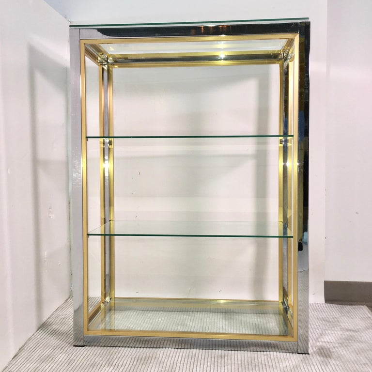 Chrome and Brass Table Top Étagère For Sale 10