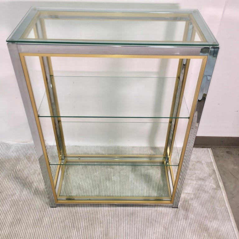 Chrome and Brass Table Top Étagère For Sale 11