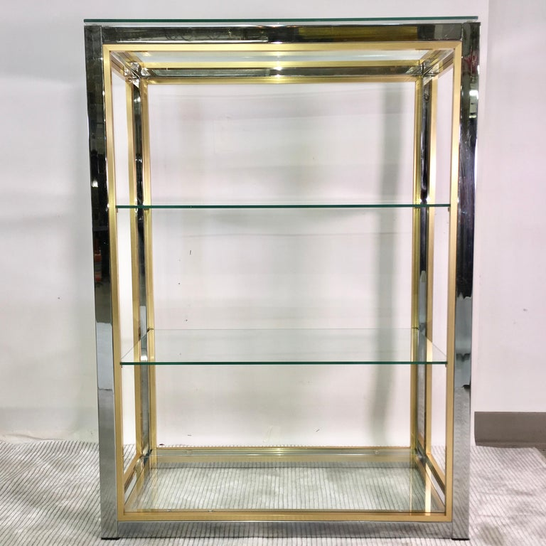 American Chrome and Brass Table Top Étagère For Sale