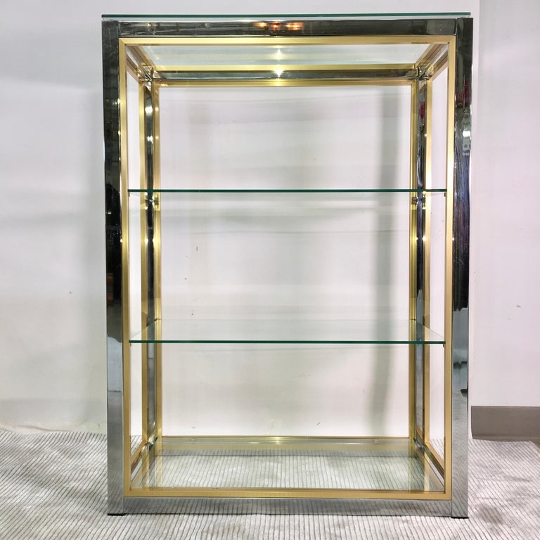 Anodized Chrome and Brass Table Top Étagère For Sale