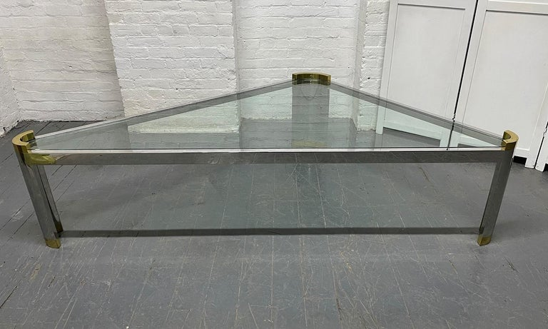 Chrome and Brass Triangular Coffee Table In Good Condition For Sale In New York, NY