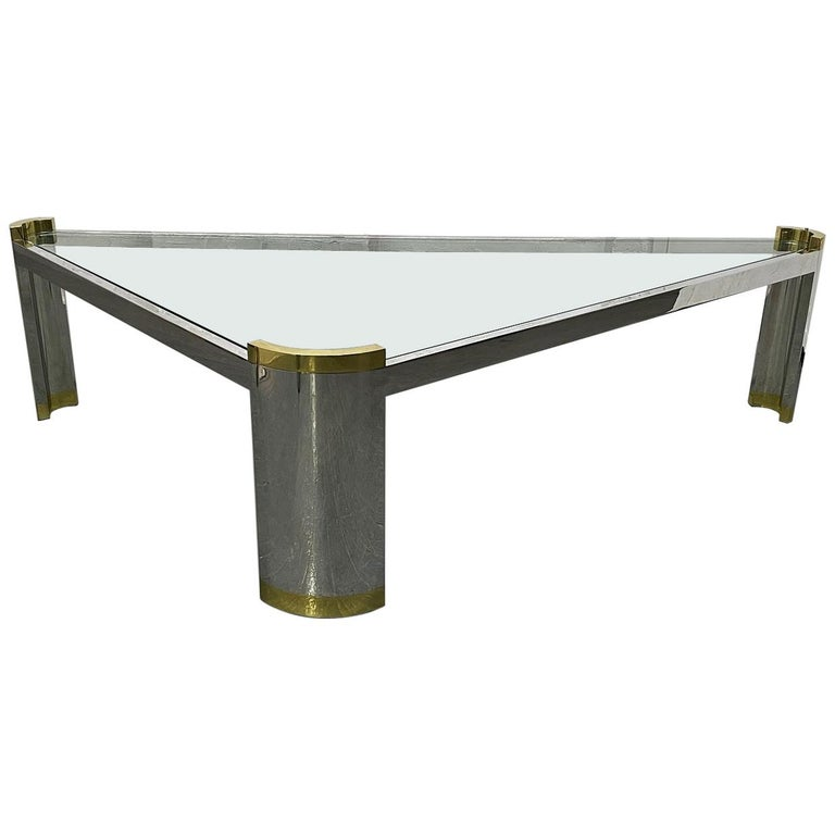 Chrome and Brass Triangular Coffee Table For Sale