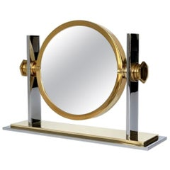 Chrome and Brass Vanity Mirror by Karl Springer
