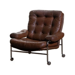 Chrome and Brown Leather Easy / Lounge Chair by Scapa Rydaholm Sweden 1970s