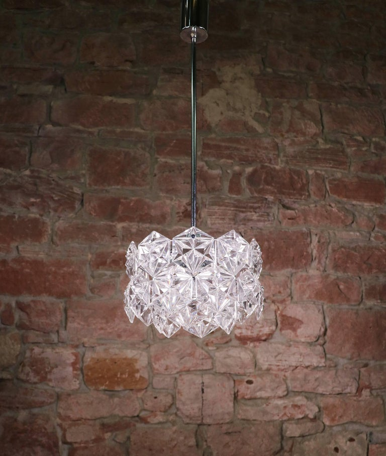 Mid-20th Century Crystal Glass & Chrome Chandelier by Kinkeldey, Germany 1960s For Sale