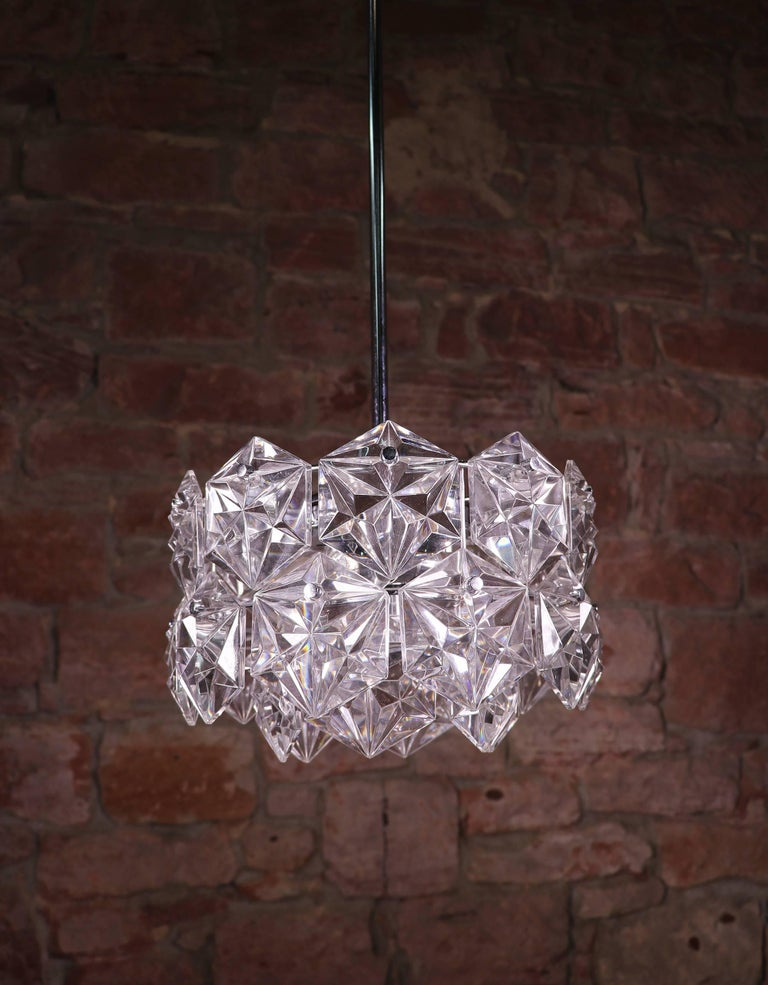 Metal Crystal Glass & Chrome Chandelier by Kinkeldey, Germany 1960s For Sale