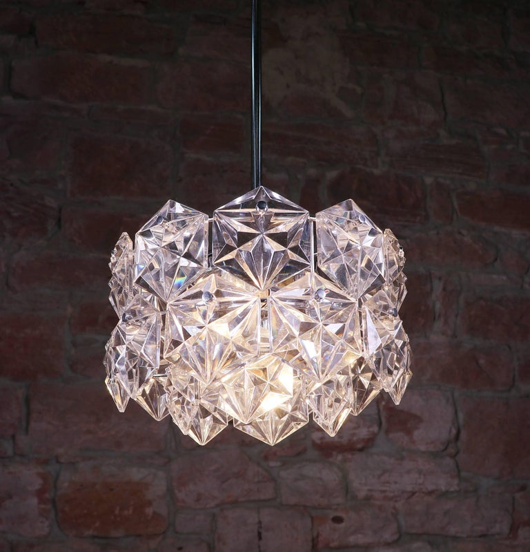 Crystal Glass & Chrome Chandelier by Kinkeldey, Germany 1960s For Sale 1