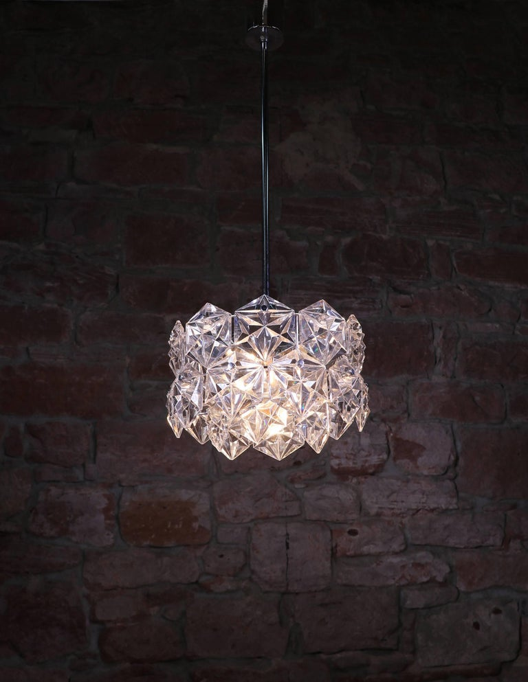 Crystal Glass & Chrome Chandelier by Kinkeldey, Germany 1960s For Sale 2