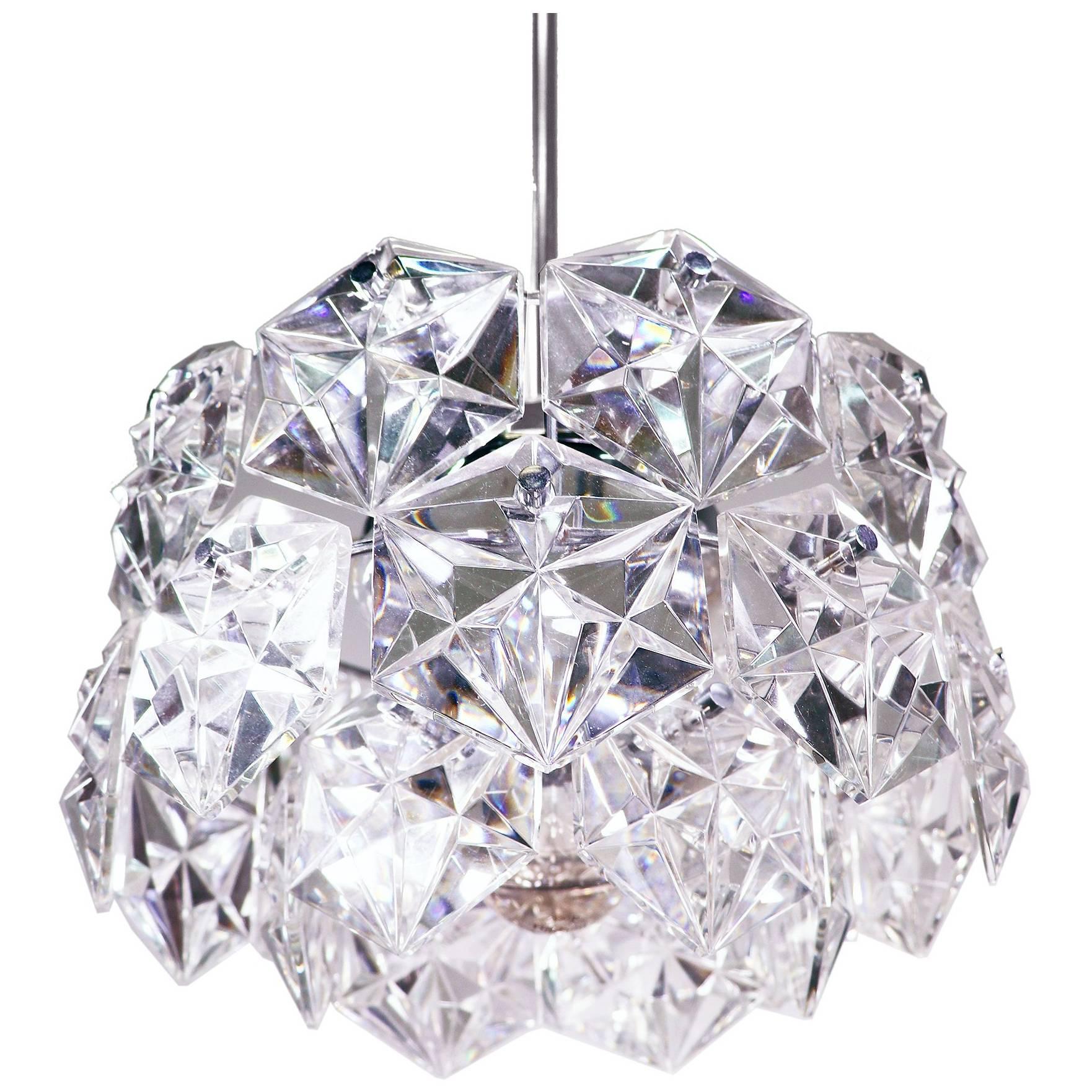 Sputnik Chandelier Crystal Glass & Chrome by Kinkeldey, Germany, 1960s